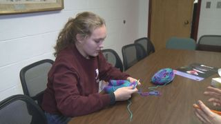 Orono girls knit hats for kids w/ cancer